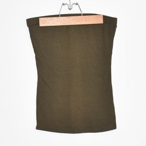 Ribbed Olive Green Tube Top
